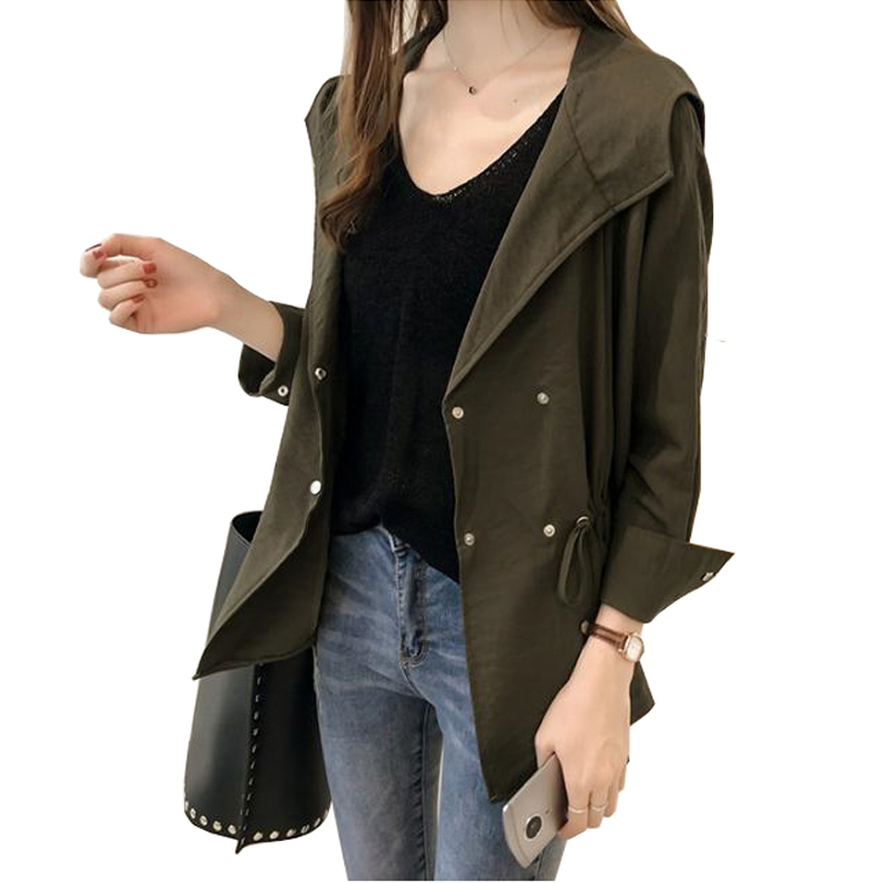 Trench-Coat Khaki Autumn Hooded-Collar Slim Double-Breasted Plus-Size Women Fashion Long