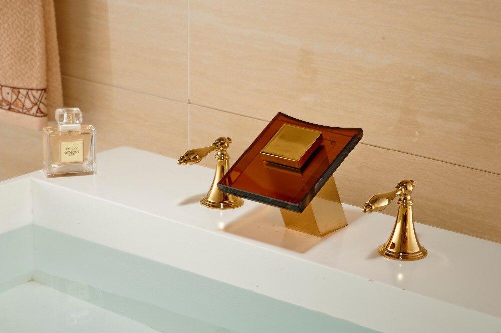 Widespread Golden Brass Bathroom Basin Faucet Glass Waterfall Spout Dual Handles antique brass swivel spout dual cross handles kitchen