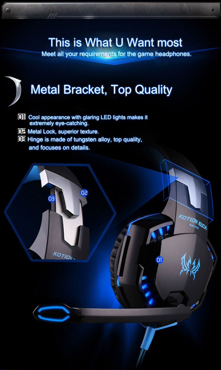EACH G2000 Over-ear Gaming Headphone Headset Earphone With Mic Stereo Surrounded Bass LED Light For PC Game (5)
