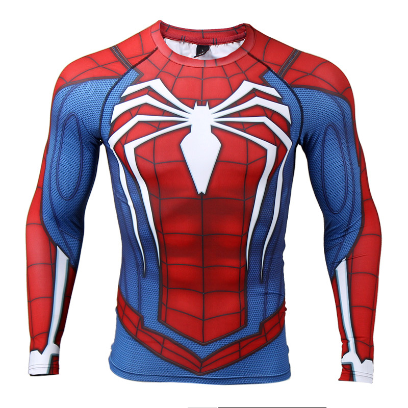 spiderman 3d printed men compression raglan long sleeve shirts. Black Bedroom Furniture Sets. Home Design Ideas