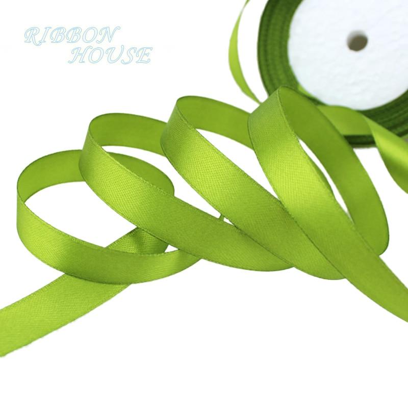25 ярдов/рулон) атласная лента оптом, подарочная упаковка, рождественские украшения сделай сам, с лентой, с местом для рулон ткани(6/10/12/15/20/25/40 мм - Цвет: Fruit Green
