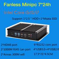 Безвентиляторный промышленный мини ПК Win10 Core i3 4010u 4005u i5 4200u i7 5550U 2 * Intel Gigabit LAN 6 * RS232 8 * USB Micro компьютер 2 * HDMI