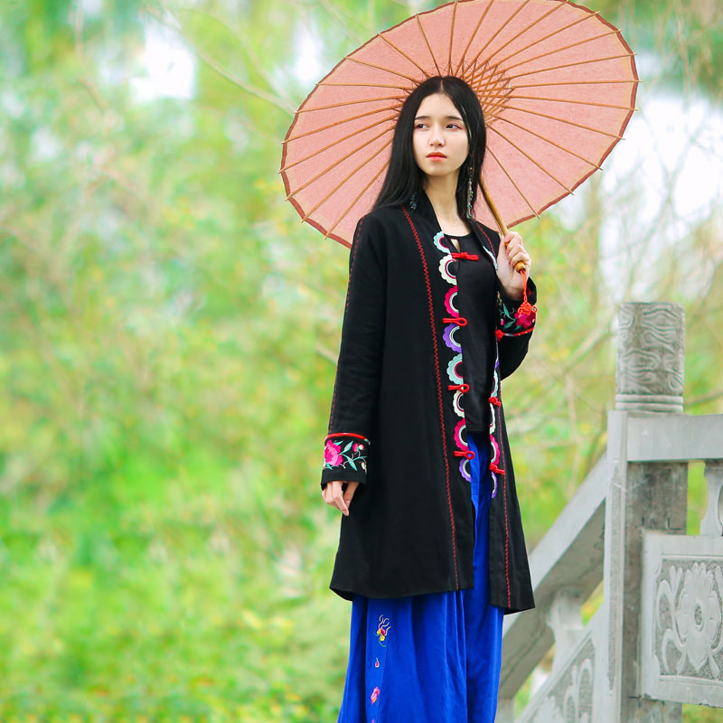1c938df8272 BOHOCHIC Original Vintage Ethnic Embroidery Turkey Female Clothes Cotton Linen  Bohemian Women Long Black Coat AZ0440C Boho Chic-in Trench from Women s ...