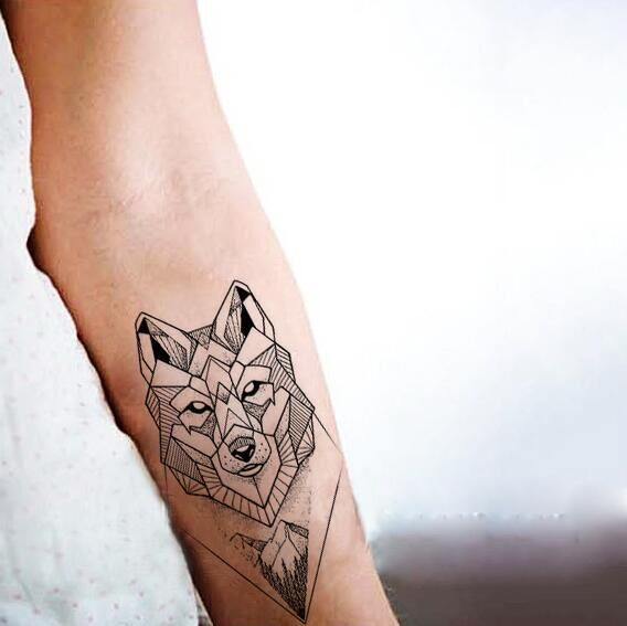 Black and White Wolf Head Temporary Tattoo