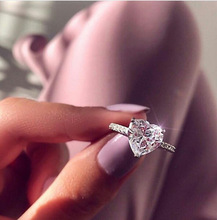 Romantic Wedding Band Rings Dainty Exquisite 925 Sterling Silver Big Zircon Stone Heart Rings for Women Promise Engagement Ring недорого