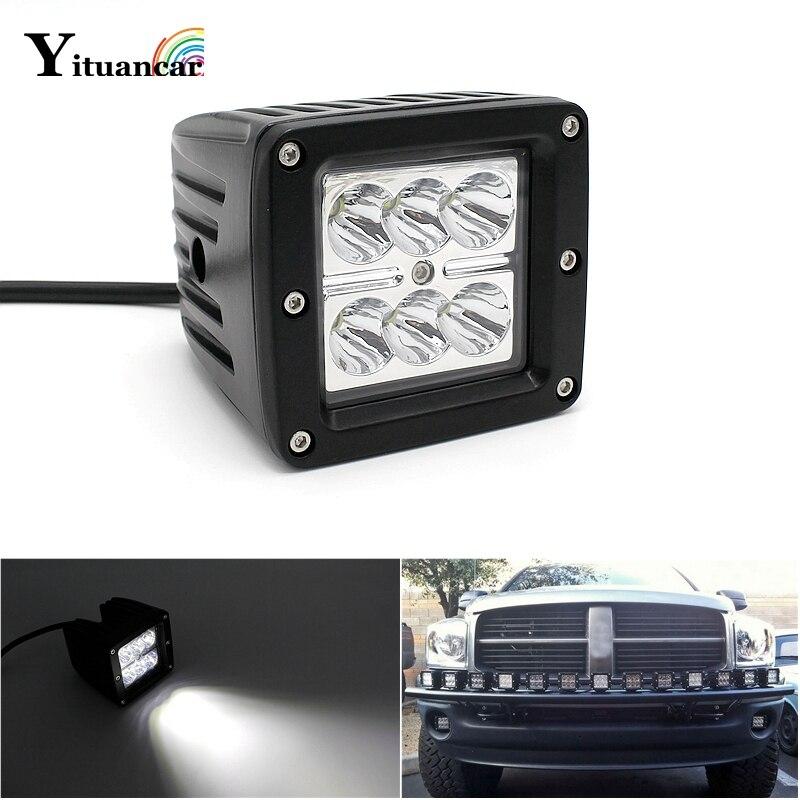 Yituancar 1ks / sada 18W 3palcová LED pracovní světelná lišta IP67 Styling Driving Motocykl Offroad Truck SUV DC9-32V Spot Beam Car Lighting