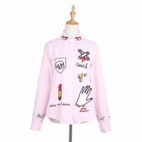 Fashion Shirt Women Lipstick Hand Embroidery Shirt Turn Down Collar Women S Long Sleeve Shirt Shirts