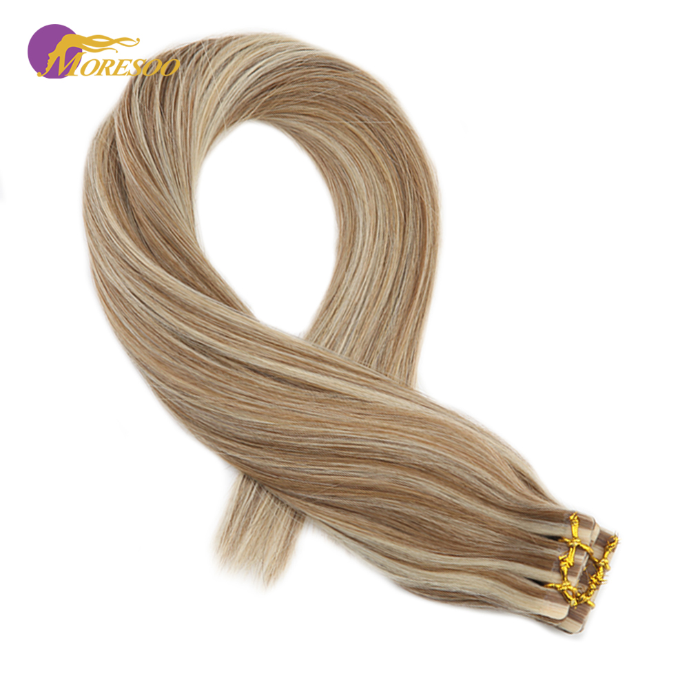 Moresoo Tape In Human Hair Extensions Adhesive Remy Brazilian Skin Weft Tape On Hair Color #6 Highlight With Blonde #60 2.5g/pcs