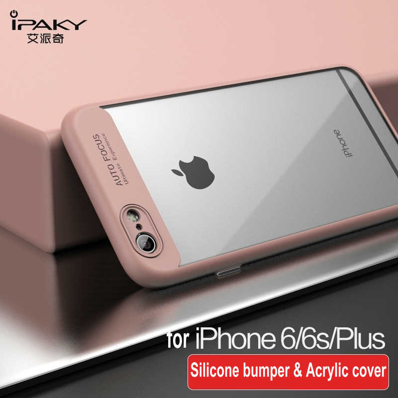 best website f8561 483c0 iPaky For Apple iPhone 6s Case Soft Silicone Frame Hard Transparent Back  Cover For iPhone 6 6s Plus 7 7Plus 8 Plus Phone Cases