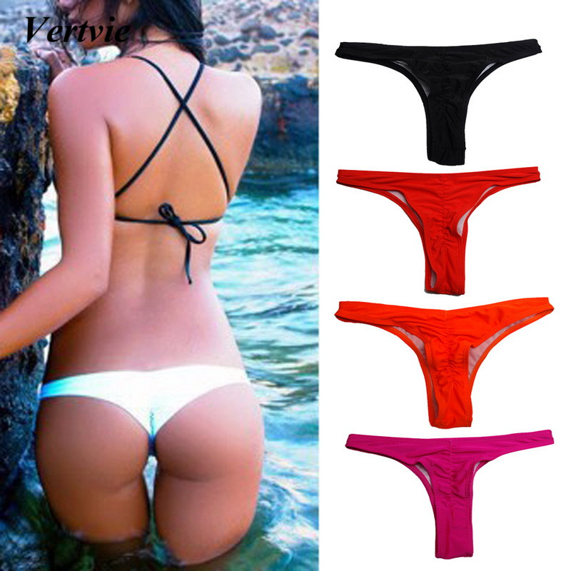 2018 Sexy women Bikini Bottoms Swimming G-String Briefs Panty Bikini Thong Bottom Swimsuit Brazilian Thong maillot de bain femme elastic string bulge pouch sheer briefs