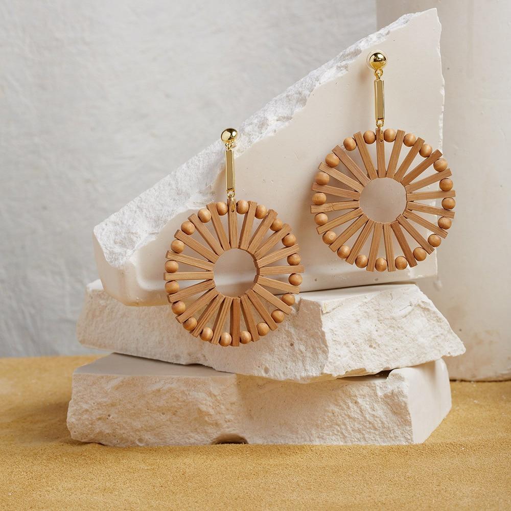 AENSOA Vintage Creative Ethnic Handmade Bamboo Wooden Drop Earrings For Women Geometric Statemen Earring Fashion Jewelry Summer
