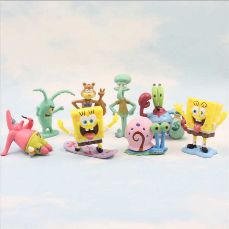 SpongeBob Patrick Star 8pcs in 1 Set Dolls Western Animiation Cartoon Movie Peripherals Children Kids Toys Free Shipping HT2959