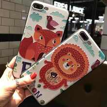 3D Relief Embossing Cartoon Animal lion fox Phone Cases For iphone 7 Plus 5s 6 6s Scrub Soft Silicon Cover For iphone 7 Coque