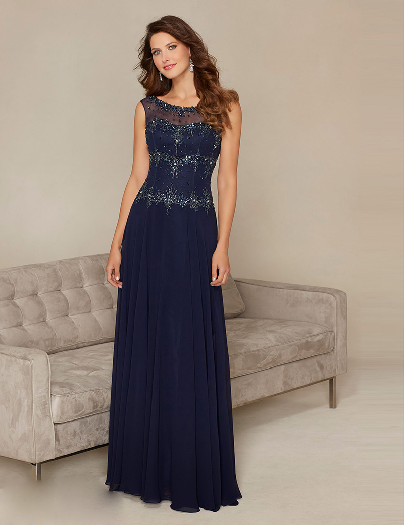 Long Chiffon Mother Of Bride Dress With Short Sleeves Navy Blue Crystal Groom Wedding M04 In Evening Dresses From Weddings Events On