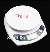 7kg*1g Portable Digital LCD Kitchen Scale  Food Diet Postal Household Weight Balance Scales Max 7KG Pure White Cooking Tools