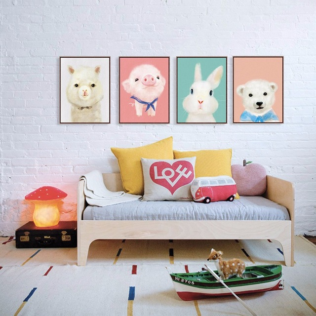 Kawaii Animals Bear Painting Art Print Poster Pig Rabbit Nursery Wall Picture Kids Room Home Decor With For