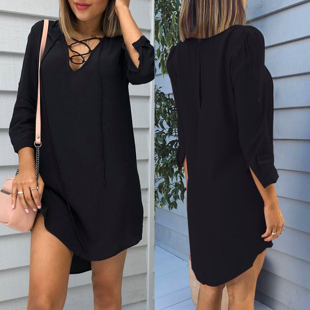 Winter New Ladies V-Neck Fashion Long Sleeve V-Neck Button Back Split Sweater Dress Wholesale Free Ship Z4