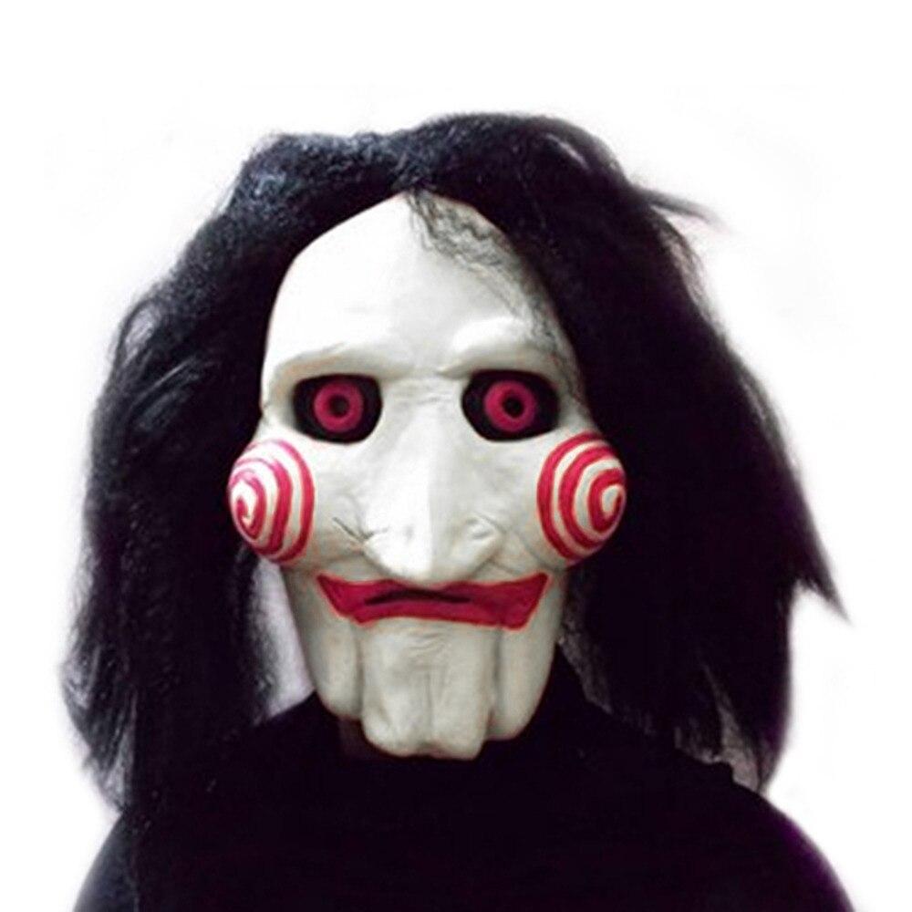 Film Sah Chainsaw massacre Jigsaw Puppet Masken Latex Creepy Halloween geschenk volle maske Scary prop unisex party cosplay liefert