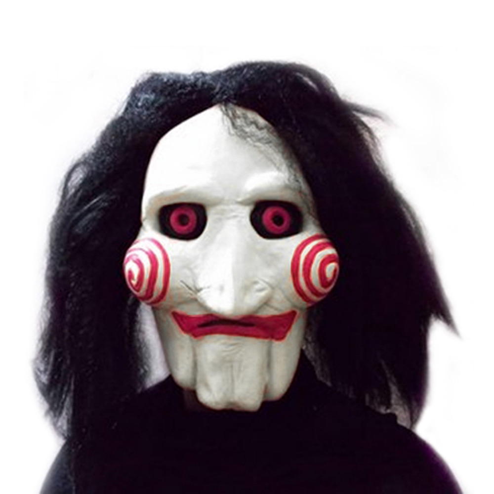 Película Saw Jigsaw Títeres regalo de Halloween Máscaras de Látex Espeluznante masacre Motosierra máscara completa prop Scary unisex cosplay del partido suministros