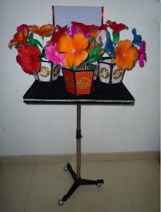 Apparaissant Bouquet & Vase tableau tours de magie pour magicien professionnel apparaissant 3 Pots de fleurs stade Illusion mentalisme drôle