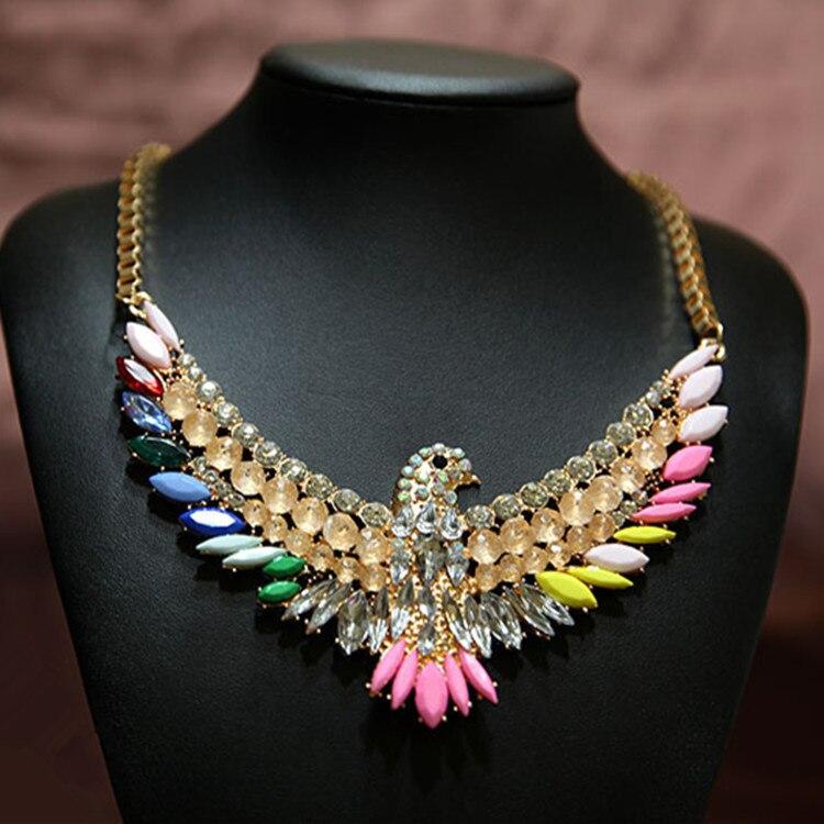 22cfe2b717a9 2014 de alta calidad de las mujeres de moda de lujo Collares y colgantes  gargantillas Crystal aves joyería declaración n1006