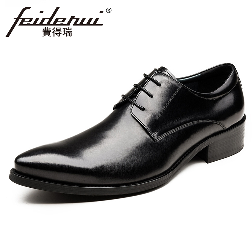 New Italian Designer Men's Wedding Party Footwear Genuine Leather Pointed Toe Lace-up Derby Man Luxury Formal Dress Shoes YMX504 new italian designer men s wedding party footwear genuine leather pointed toe lace up derby man luxury formal dress shoes ymx504