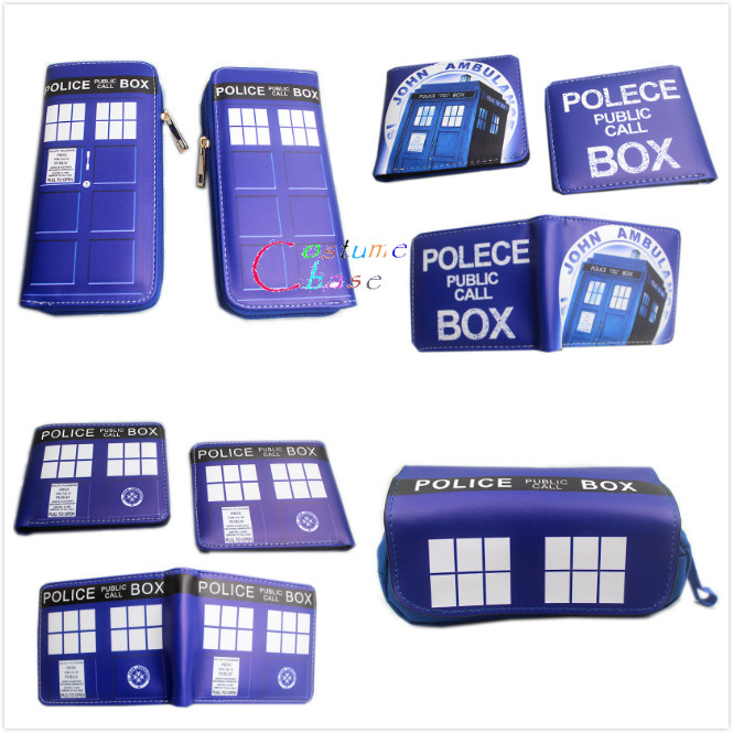 Doctor Who Wallet Long Style PU Leather Zipper Purses Tardis Money Bag Card Holder Pencil Case Cosplay Gift