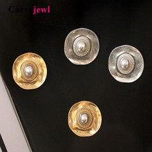 Pendientes Carvejewl vintage con pasador de perlas, chapado en plata, simple metal, viento, personalidad, pendientes coreanos para joyería de mujer