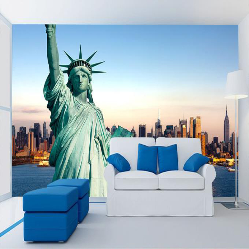 personalized custom modern 3d effect wallpaper statue of liberty city life wallpaper living room sofa TV background wall mural free shipping custom modern 3d mural bedroom living room tv backdrop wallpaper wallpaper ktv bars statue of liberty in new york