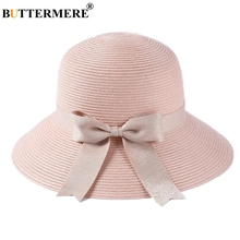 BUTTERMERE Pink Sun Hats For Women Summer Straw Ladies Bow Wide Brim 2019 New Brand Uv Foldable Female