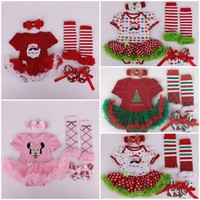 Retail Xmas Baby Clothing Infant Girl Christmas Gift Santa Clause Minnie Mouse Romper Jumpersuit Stockings Headband