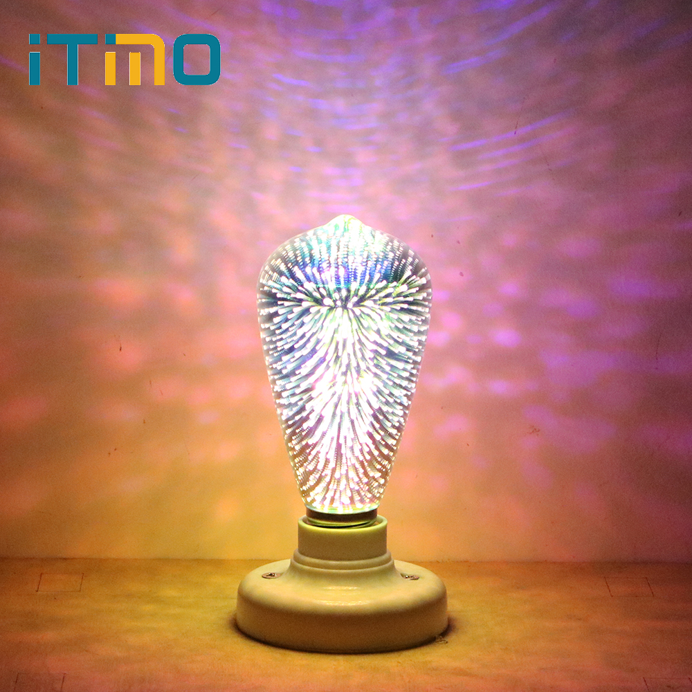 ITimo E27 4W LED 3D Fireworks Light Bulb Stars Decorative Edison Bulb Bar Party Lamp AC 85-265V Novetly Creative