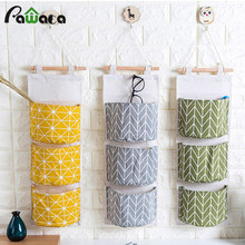 Multi layer pocket classified storage bag cotton linen waterproof 3 gird door wall hang bag for jewelry Cosmetics Organizers(China)