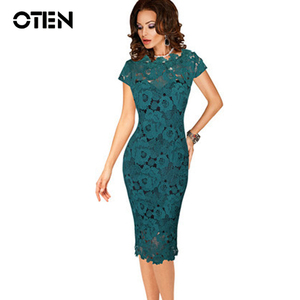 Image 1 - OTEN Office ladies dresses Elegant womens sexy lace hollow out knee length work office business sheath bodycon dress robe crayon
