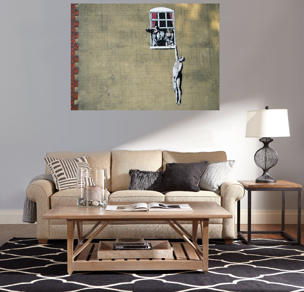 canvas painting gift naked man hanging from window banksy painting paints for living room wall - Naked Furniture