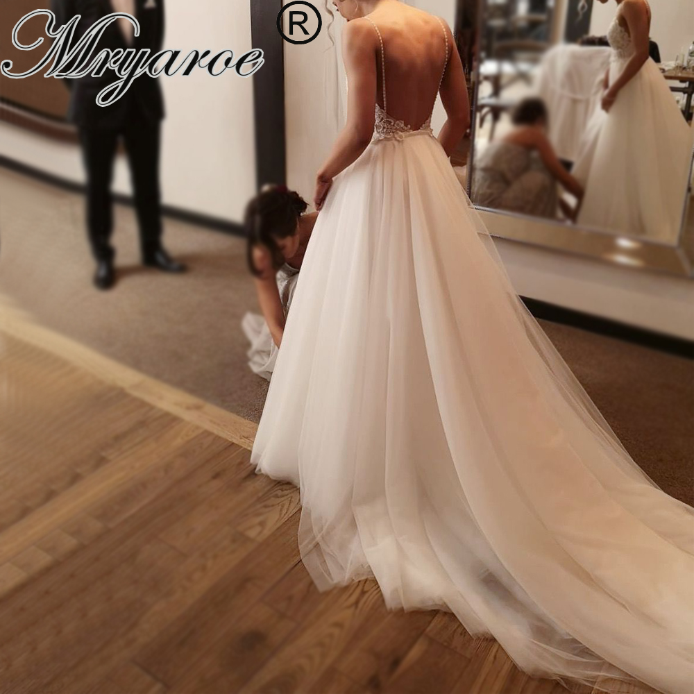 Mryarce 2019 Unique Bridal Lace Beading Open Back Wedding Dresses Sienna Crepe Mermaid Gown With Detachable Tulle Train