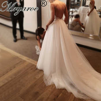Mryarce 2019 Unique Bridal Lace Beading Open Back Wedding Dresses Sienna Crepe Mermaid Gown With Detachable Tulle Train - DISCOUNT ITEM  0% OFF All Category