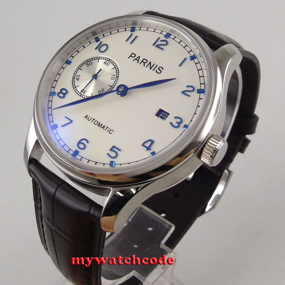 43mm parnis white dial ST2555 movement automatic black leather mens watch P103 40mm parnis white dial vintage automatic movement mens watch p25