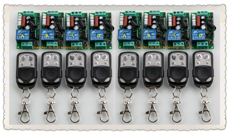 ФОТО 2016 New 220V 1CH 10A Wireless Remote Control Switch System 8pcs Receiver and 8pcs Transmitter Applicance Garage Door JRL220-1