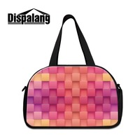 2018 Geometric 3D Printing sporty duffle bags for girls canvas luggage travel bag shoulder workout bags pink weekend tote bag