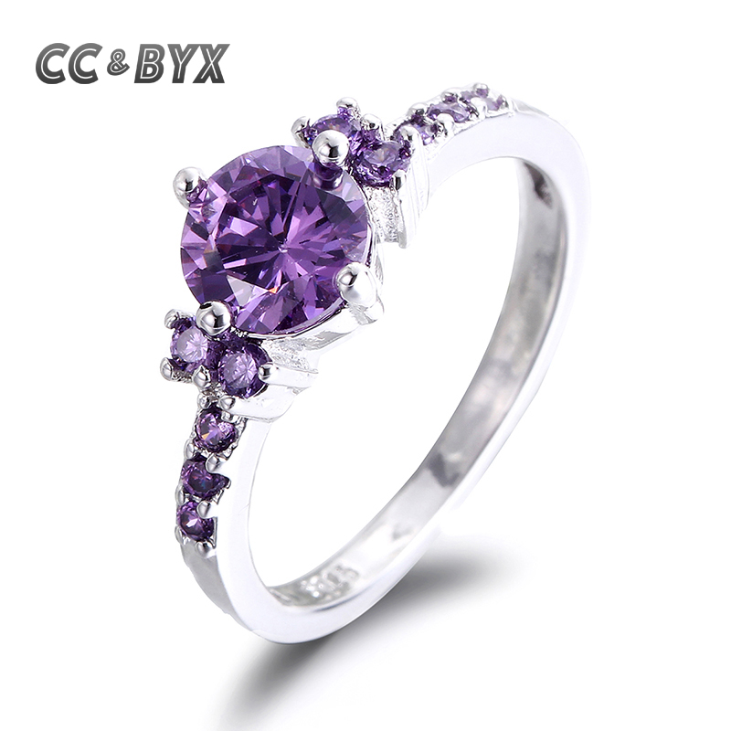 cc luxury purple engagement rings for women aneis vintage cz wedding ring bijoux bague femme chiristmas - Purple Wedding Rings