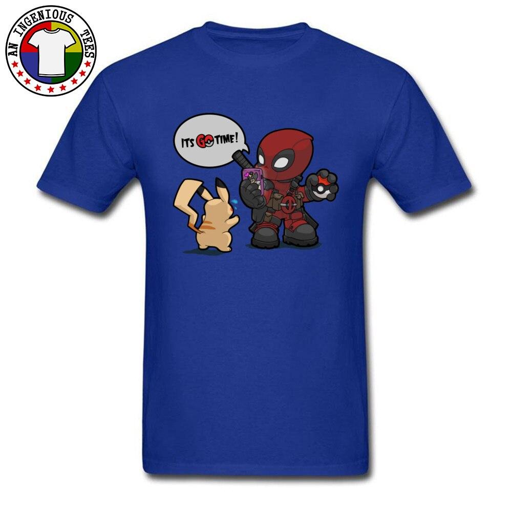 Tops & Tees Deadpool Pokemon GO time 1226 Summer Short Sleeve 100% Cotton Crewneck Man Top T-shirts Leisure Clothing Shirt Plain Deadpool Pokemon GO time 1226 blue
