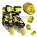 Patins de crianças com protetores de capacete para crianças e adultos roda piscando