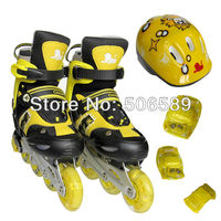 free shipping children's roller skates with helmet protectors for children and adults flashing wheel