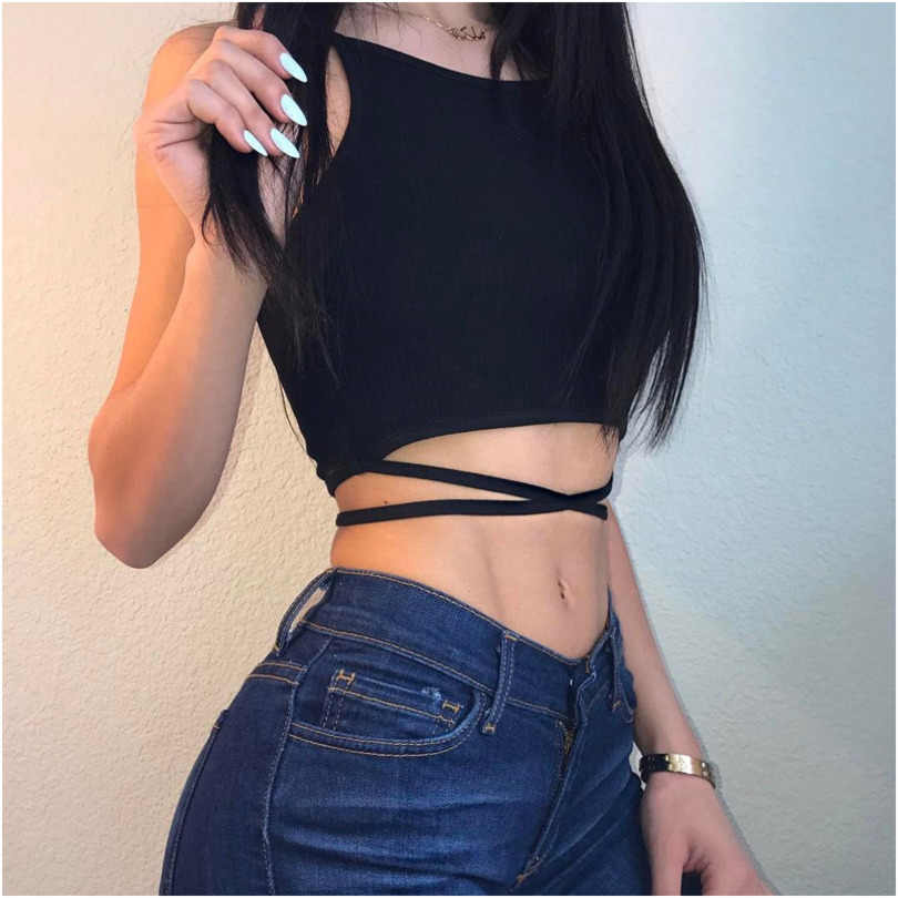 Sexy Party Club Bralette Crop Top Crop-top Top Cropped For Women Streetwear Hollow Out Black White Ladies Tank Tops Women Summer