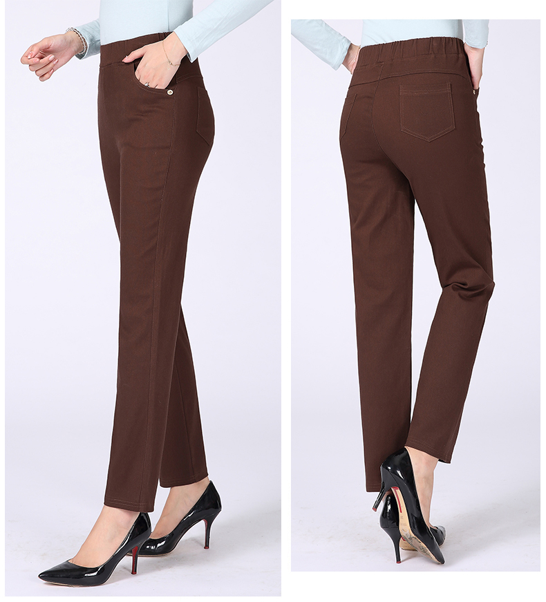 Women Casual Pants Plain Color Basic Trousers Spring Autumn Pantalones Mujer High Elastic Band Waist Pant Red White Gray Black (17)