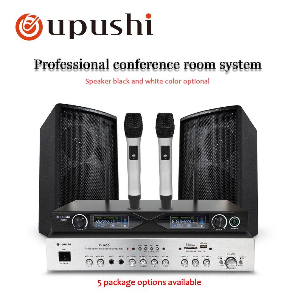 Oupushi AV160G Professional Amplifier With HY208 Wall Speaker Wireless Mic Home Theater Karaoke Backroud Music System