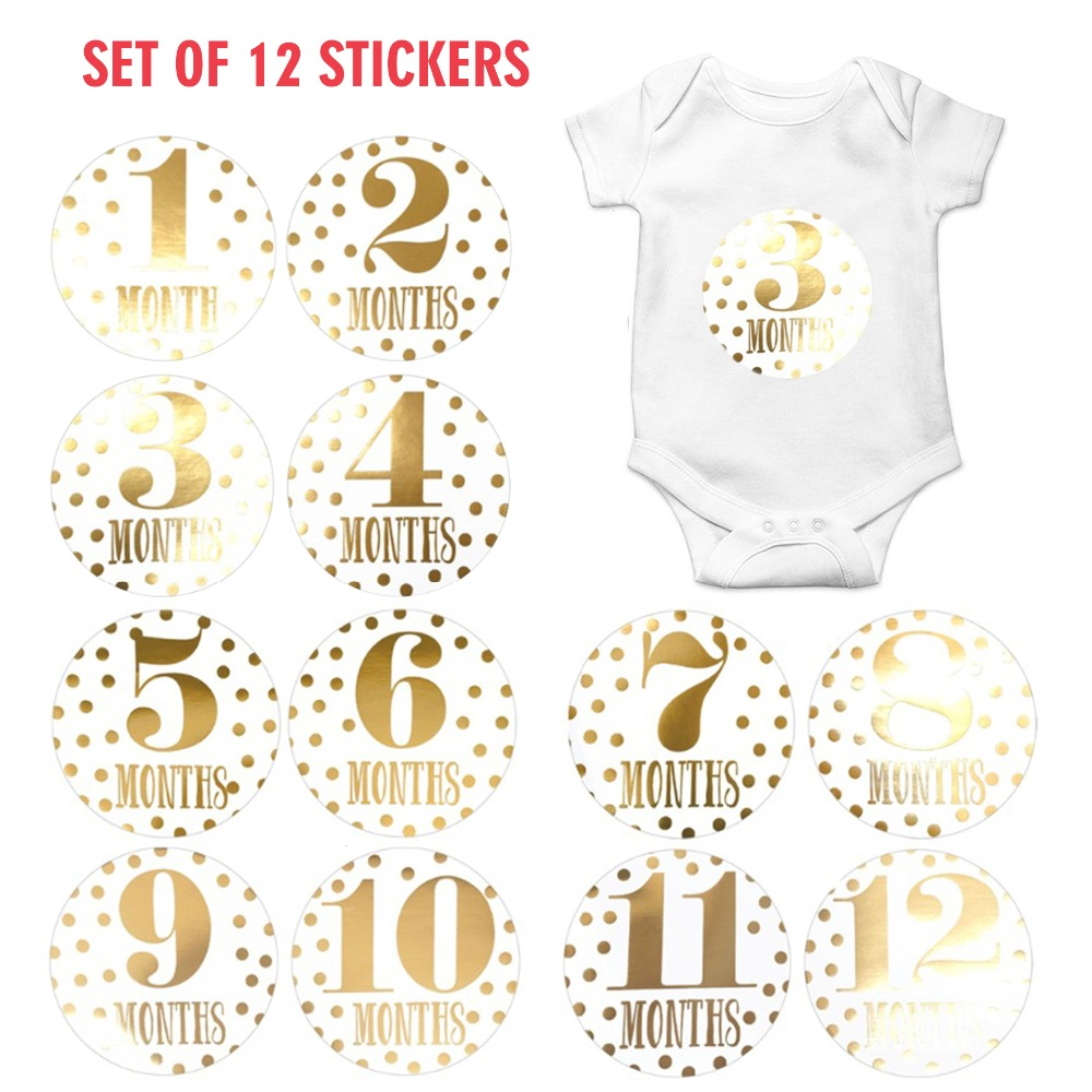 12Pcs Pregnant Women Newborn Boy Girl Month Stickers for