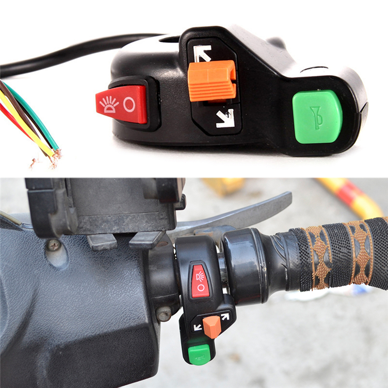 """JETTING High Quality Universal 3 in1 Motorcycle Bike Signals On/Off Light ATV 7/8"""" Switch Horn"""