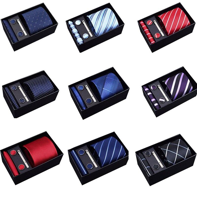 2019 Fashion 8cm Wide Tie Sets Black/blue/red Men's Neck Tie Hankerchiefs Cufflinks 24 Colours Box Gift Polyester Silk Handmade